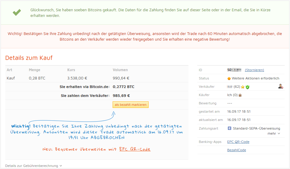 bitcoin.de Zahlungsinformationen