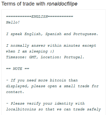 LocalBitcoins.com Vendor Terms